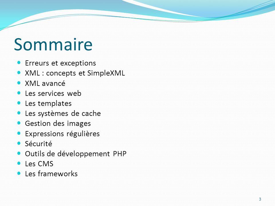 Sommaire Erreurs et exceptions XML : concepts et SimpleXML XML avancé Les services web Les templates Les systèmes de cache Gestion des images Expressions régulières Sécurité Outils de développement PHP Les CMS Les frameworks 3