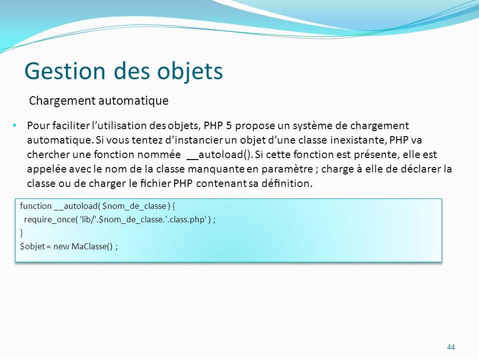 Gestion des objets 44 Chargement automatique Pour faciliter lutilisation des objets, PHP 5 propose un système de chargement automatique.