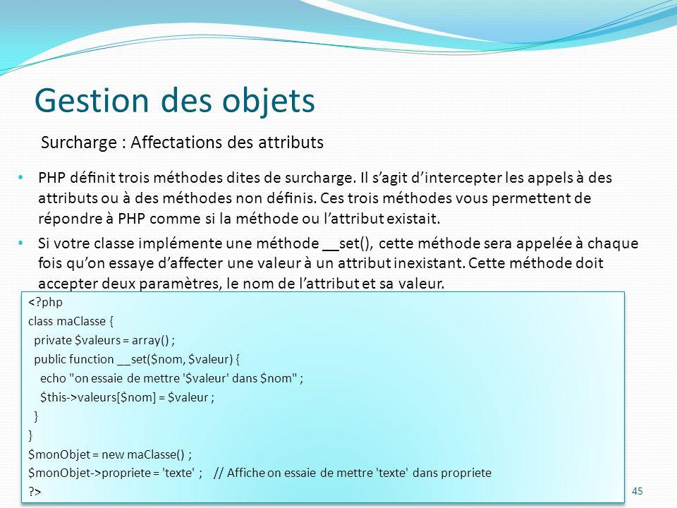 Gestion des objets 45 Surcharge : Affectations des attributs PHP dénit trois méthodes dites de surcharge.