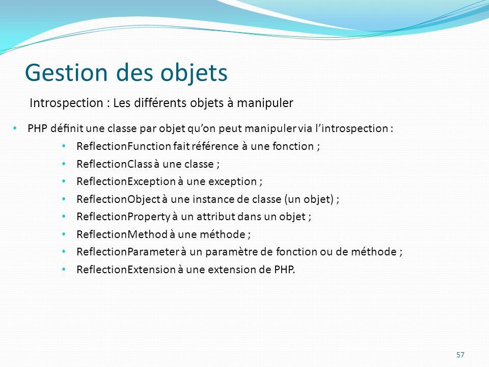 Gestion des objets 57 Introspection : Les différents objets à manipuler PHP dénit une classe par objet quon peut manipuler via lintrospection : ReflectionFunction fait référence à une fonction ; ReflectionClass à une classe ; ReflectionException à une exception ; ReflectionObject à une instance de classe (un objet) ; ReflectionProperty à un attribut dans un objet ; ReflectionMethod à une méthode ; ReflectionParameter à un paramètre de fonction ou de méthode ; ReflectionExtension à une extension de PHP.