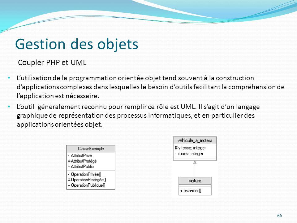 Gestion des objets 66 Coupler PHP et UML Lutilisation de la programmation orientée objet tend souvent à la construction dapplications complexes dans lesquelles le besoin doutils facilitant la compréhension de lapplication est nécessaire.