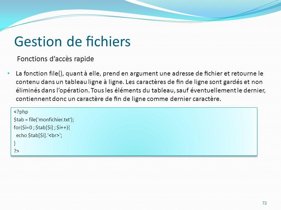 Gestion de chiers 72 Fonctions daccès rapide La fonction file(), quant à elle, prend en argument une adresse de chier et retourne le contenu dans un tableau ligne à ligne.