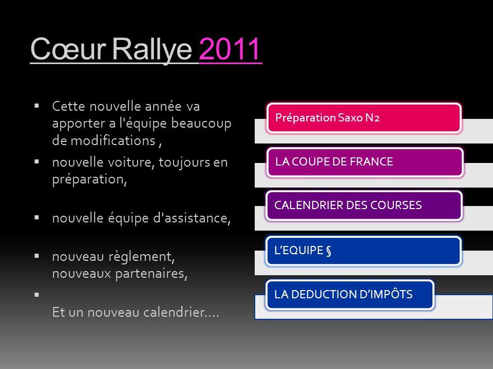 Cœur Rallye 2011 Cette nouvelle année va apporter a l équipe beaucoup de modifications, nouvelle voiture, toujours en préparation, nouvelle équipe d assistance, nouveau règlement, nouveaux partenaires, Et un nouveau calendrier….