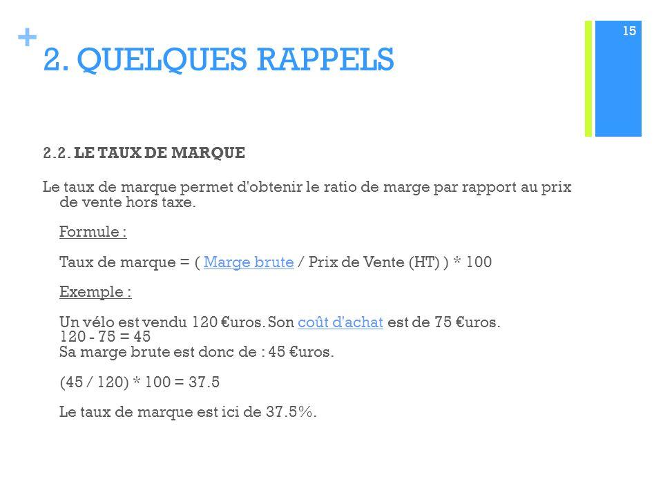 + 2.QUELQUES RAPPELS 2.2.