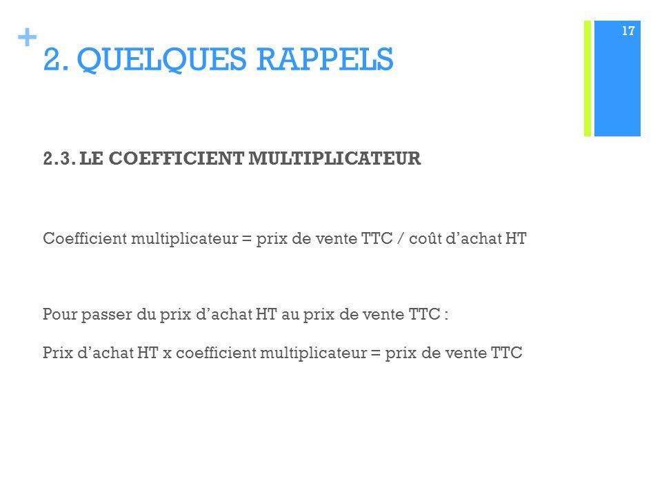 + 2.QUELQUES RAPPELS 2.3.