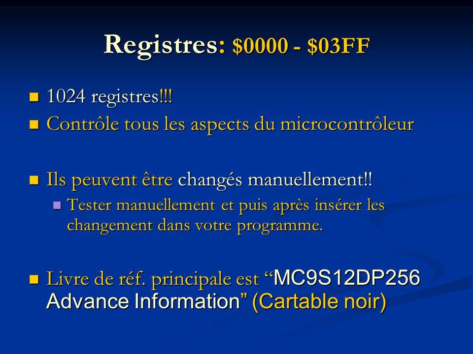 Registres: $0000 - $03FF 1024 registres!!! 1024 registres!!! Contrôle tous les aspects du microcontrôleur Contrôle tous les aspects du microcontrôleur