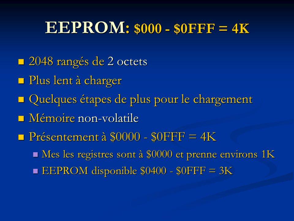 EEPROM: $000 - $0FFF = 4K 2048 rangés de 2 octets 2048 rangés de 2 octets Plus lent à charger Plus lent à charger Quelques étapes de plus pour le chargement Quelques étapes de plus pour le chargement Mémoire non-volatile Mémoire non-volatile Présentement à $0000 - $0FFF = 4K Présentement à $0000 - $0FFF = 4K Mes les registres sont à $0000 et prenne environs 1K Mes les registres sont à $0000 et prenne environs 1K EEPROM disponible $0400 - $0FFF = 3K EEPROM disponible $0400 - $0FFF = 3K
