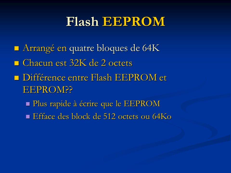 Flash EEPROM Arrangé en quatre bloques de 64K Arrangé en quatre bloques de 64K Chacun est 32K de 2 octets Chacun est 32K de 2 octets Différence entre Flash EEPROM et EEPROM?.