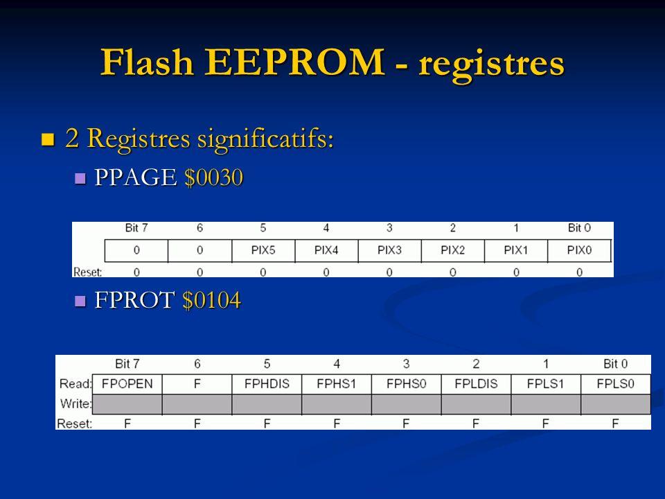 Flash EEPROM - registres 2 Registres significatifs: 2 Registres significatifs: PPAGE $0030 PPAGE $0030 FPROT $0104 FPROT $0104