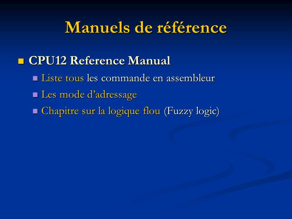 Manuels de référence CPU12 Reference Manual CPU12 Reference Manual Liste tous les commande en assembleur Liste tous les commande en assembleur Les mode dadressage Les mode dadressage Chapitre sur la logique flou (Fuzzy logic) Chapitre sur la logique flou (Fuzzy logic)
