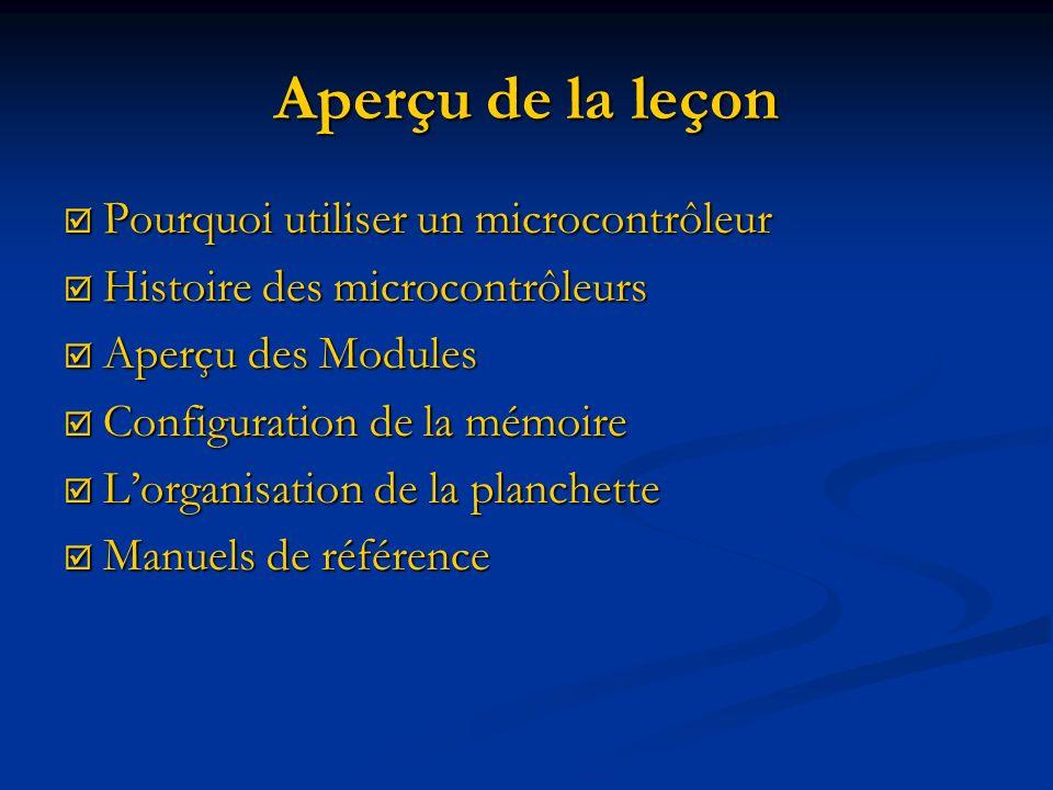 Aperçu de la leçon Pourquoi utiliser un microcontrôleur Pourquoi utiliser un microcontrôleur Histoire des microcontrôleurs Histoire des microcontrôleu