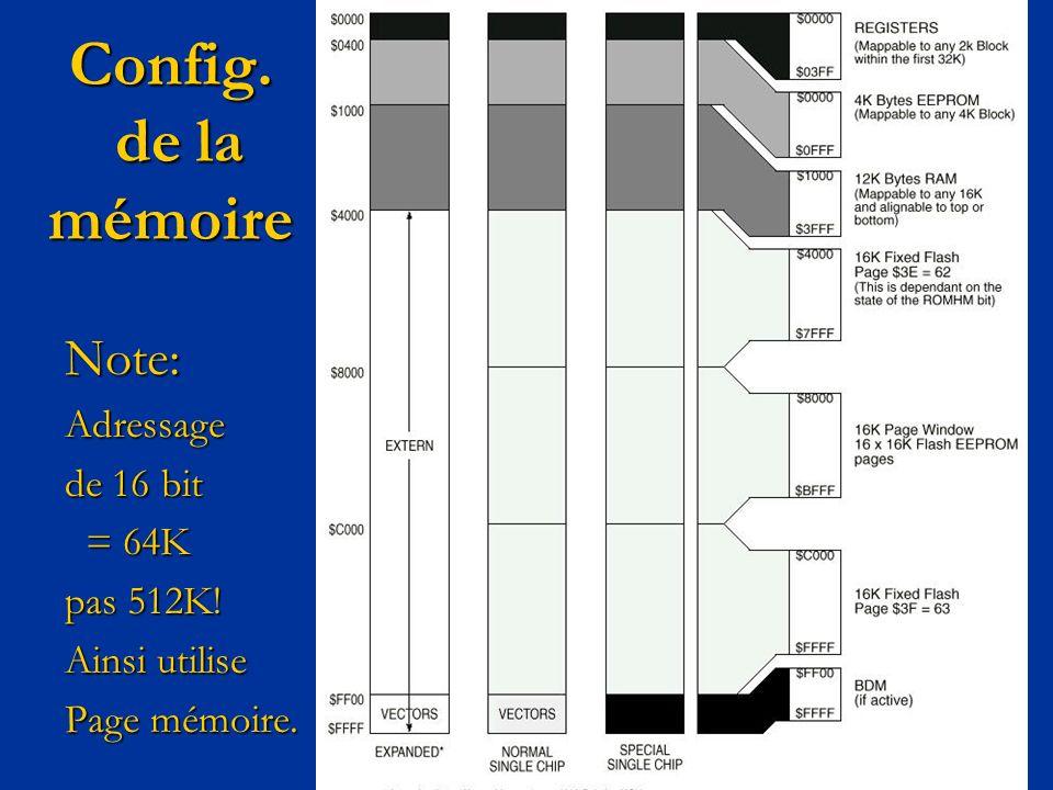 Config. de la mémoire Note:Adressage de 16 bit = 64K = 64K pas 512K! Ainsi utilise Page mémoire.