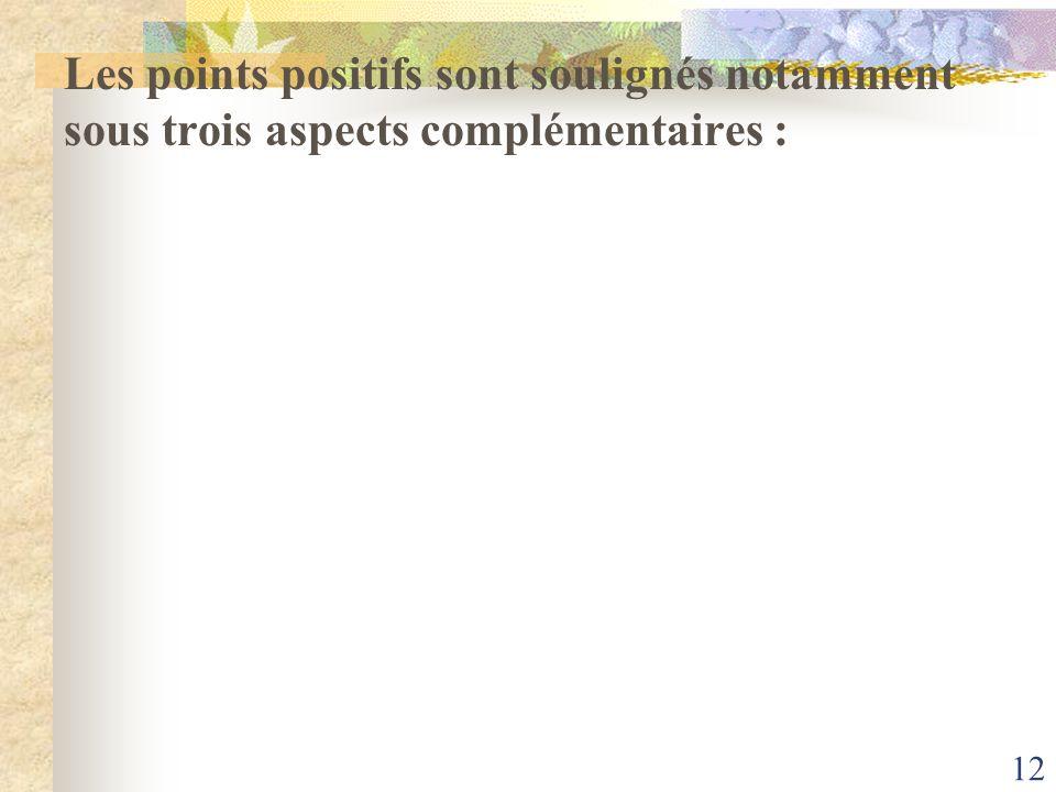 12 Les points positifs sont soulignés notamment sous trois aspects complémentaires :