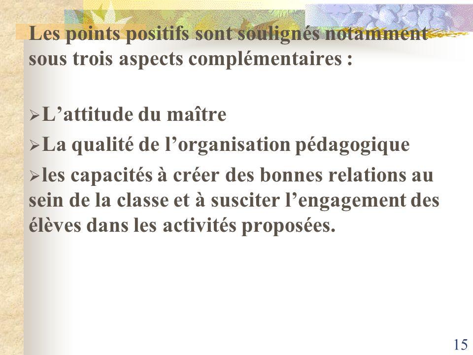 15 Les points positifs sont soulignés notamment sous trois aspects complémentaires : Lattitude du maître La qualité de lorganisation pédagogique les c