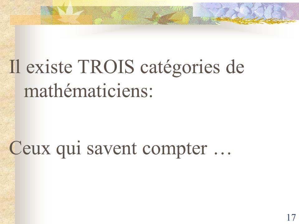 17 Il existe TROIS catégories de mathématiciens: Ceux qui savent compter …