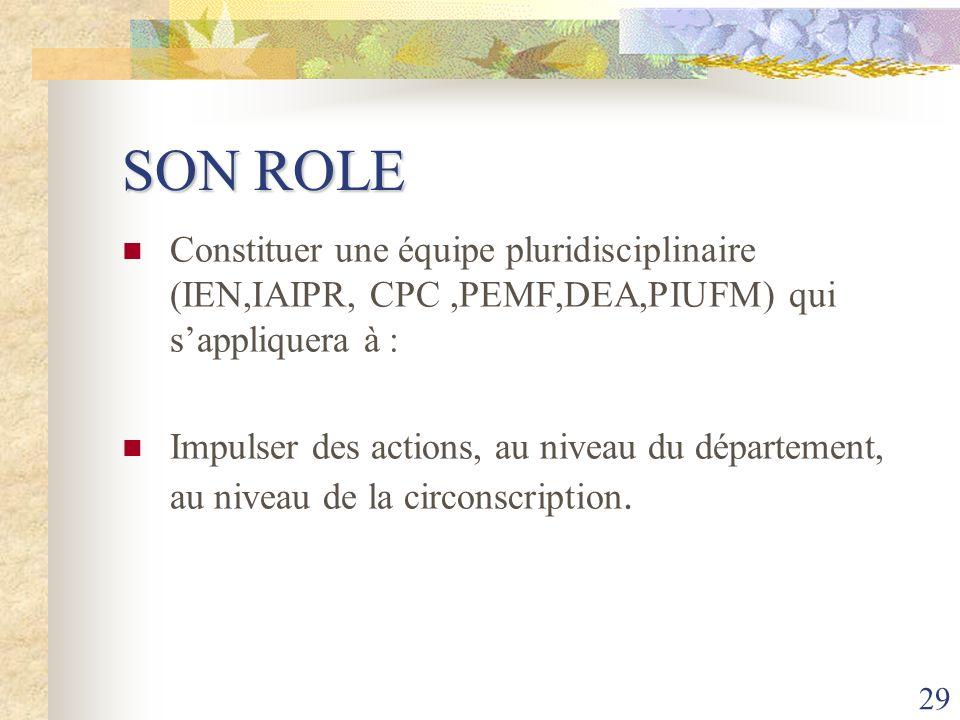 29 SON ROLE Constituer une équipe pluridisciplinaire (IEN,IAIPR, CPC,PEMF,DEA,PIUFM) qui sappliquera à : Impulser des actions, au niveau du départemen