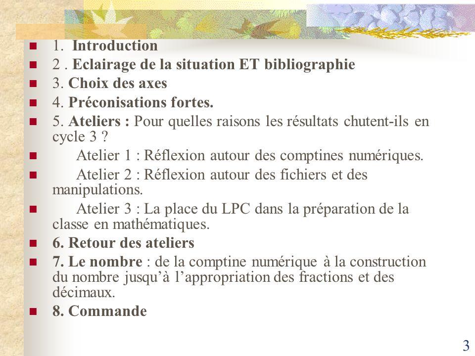 3 1. Introduction 2. Eclairage de la situation ET bibliographie 3. Choix des axes 4. Préconisations fortes. 5. Ateliers : Pour quelles raisons les rés