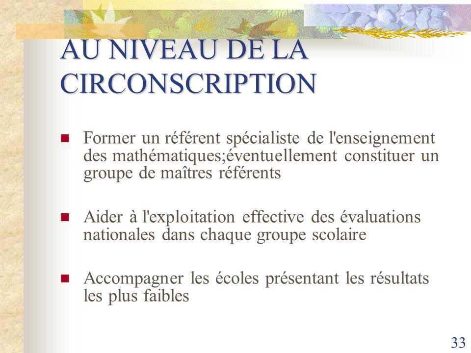 33 AU NIVEAU DE LA CIRCONSCRIPTION Former un référent spécialiste de l'enseignement des mathématiques;éventuellement constituer un groupe de maîtres r