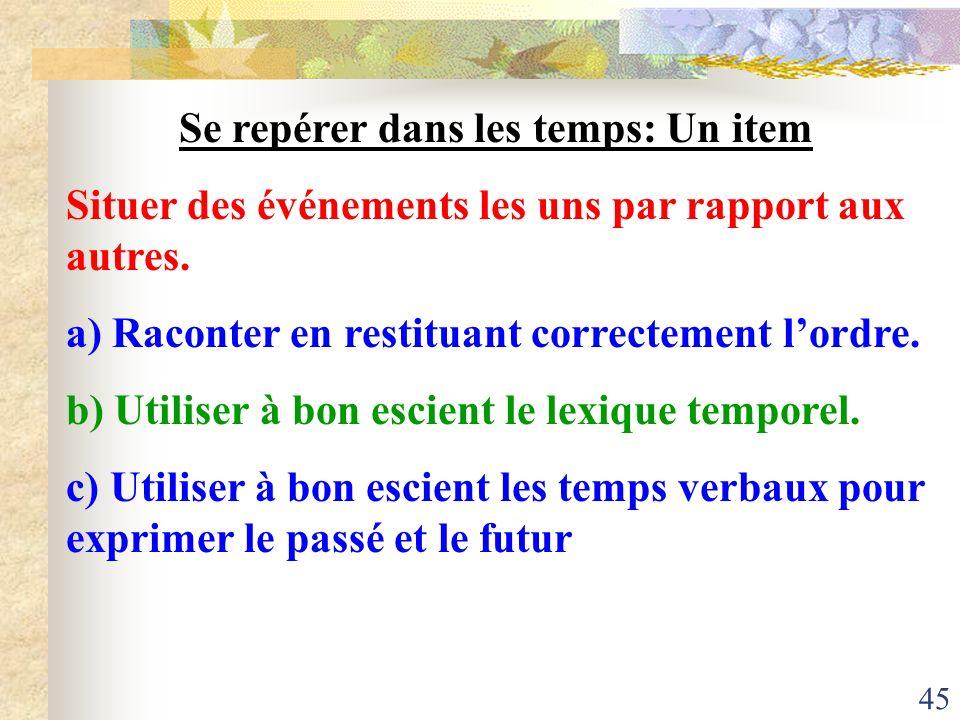 45 Se repérer dans les temps: Un item Situer des événements les uns par rapport aux autres. a) Raconter en restituant correctement lordre. b) Utiliser