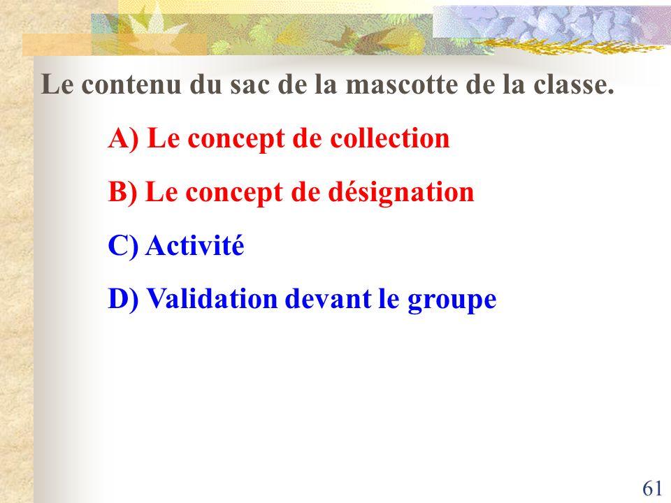 61 Le contenu du sac de la mascotte de la classe. A) Le concept de collection B) Le concept de désignation C) Activité D) Validation devant le groupe