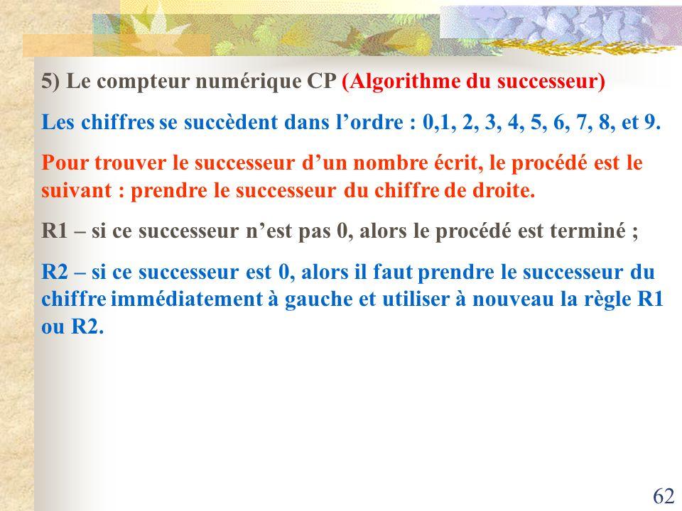 62 5) Le compteur numérique CP (Algorithme du successeur) Les chiffres se succèdent dans lordre : 0,1, 2, 3, 4, 5, 6, 7, 8, et 9. Pour trouver le succ