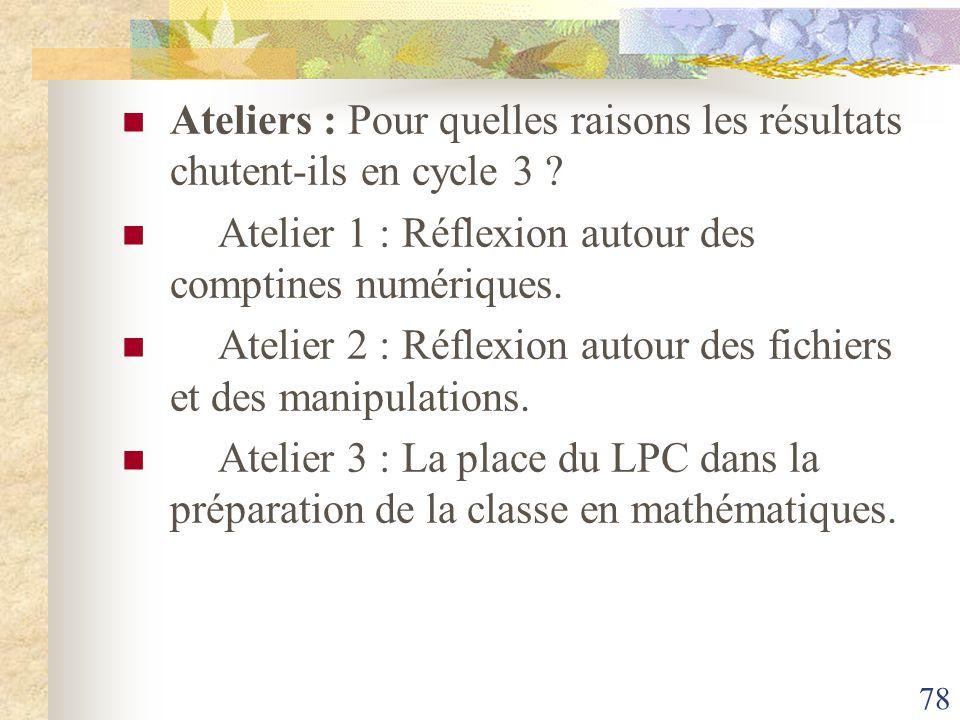 78 Ateliers : Pour quelles raisons les résultats chutent-ils en cycle 3 ? Atelier 1 : Réflexion autour des comptines numériques. Atelier 2 : Réflexion