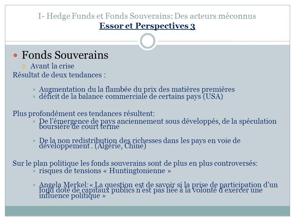 I- Hedge Funds et Fonds Souverains: Des acteurs méconnus Essor et Perspectives 3 Fonds Souverains Avant la crise Résultat de deux tendances : Augmenta