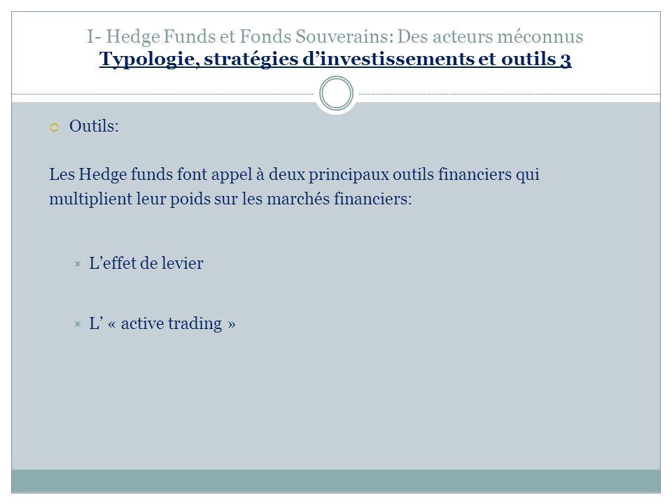 I- Hedge Funds et Fonds Souverains: Des acteurs méconnus Typologie, stratégies dinvestissements et outils 3 Outils: Les Hedge funds font appel à deux principaux outils financiers qui multiplient leur poids sur les marchés financiers: Leffet de levier L « active trading »