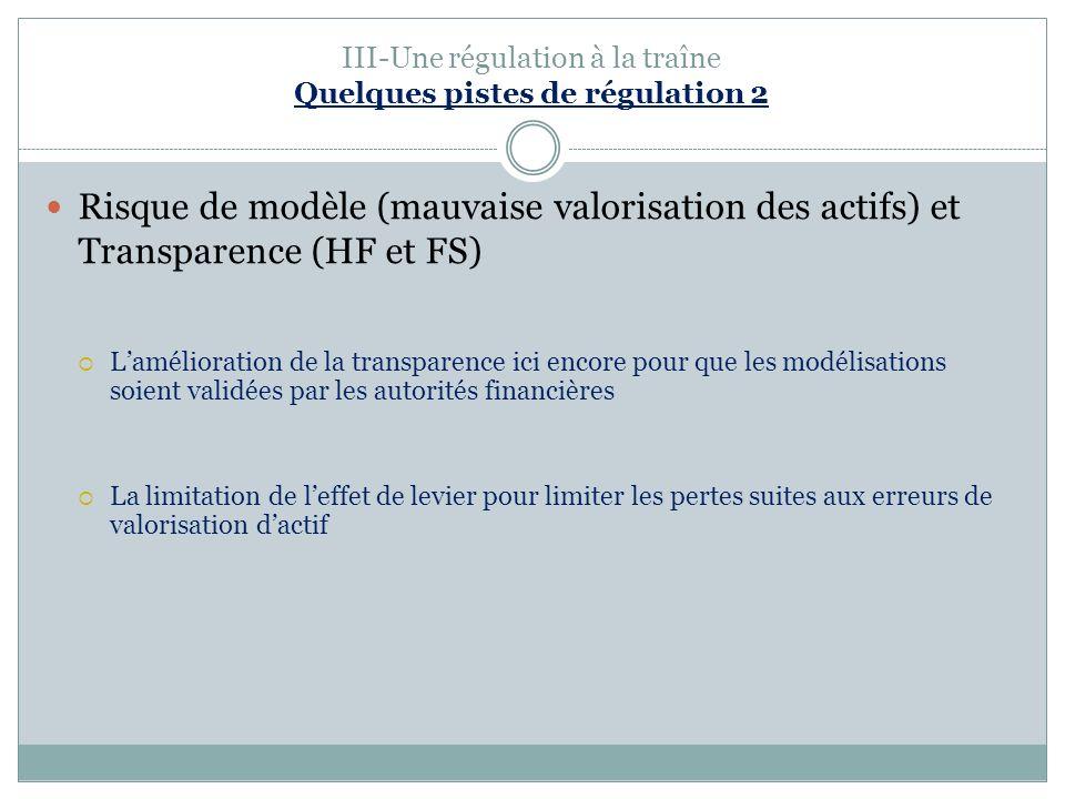 III-Une régulation à la traîne Quelques pistes de régulation 2 Risque de modèle (mauvaise valorisation des actifs) et Transparence (HF et FS) Lamélior