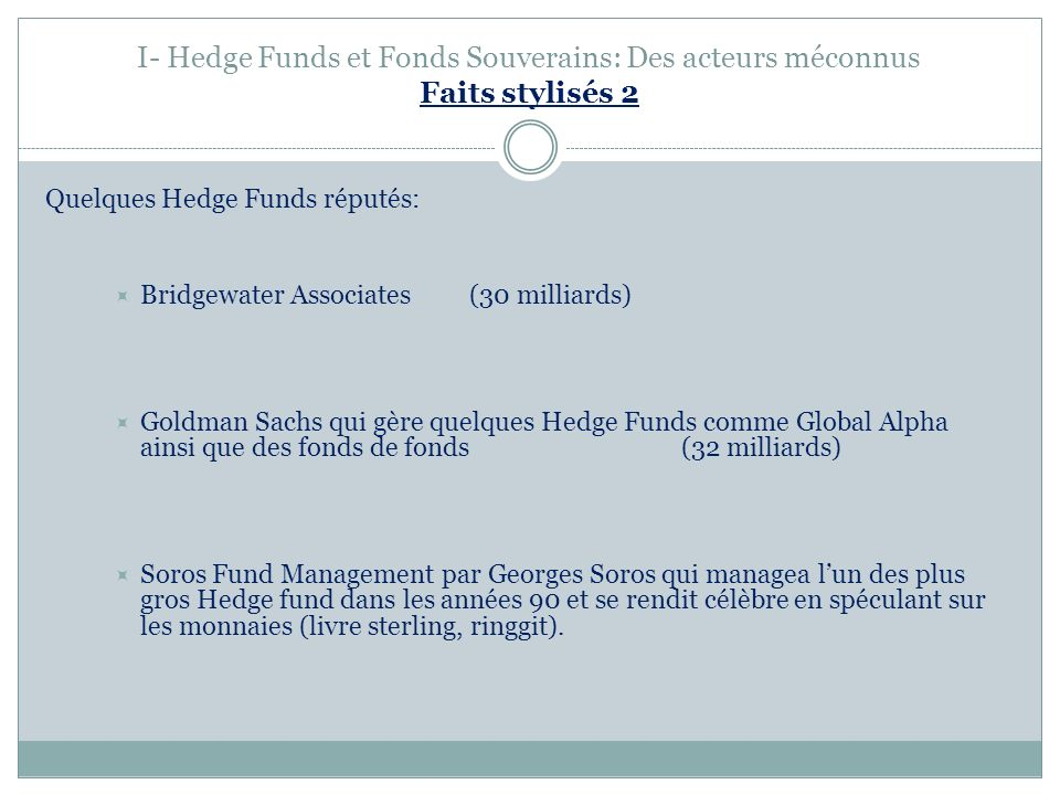 I- Hedge Funds et Fonds Souverains: Des acteurs méconnus Faits stylisés 2 Quelques Hedge Funds réputés: Bridgewater Associates (30 milliards) Goldman Sachs qui gère quelques Hedge Funds comme Global Alpha ainsi que des fonds de fonds(32 milliards) Soros Fund Management par Georges Soros qui managea lun des plus gros Hedge fund dans les années 90 et se rendit célèbre en spéculant sur les monnaies (livre sterling, ringgit).