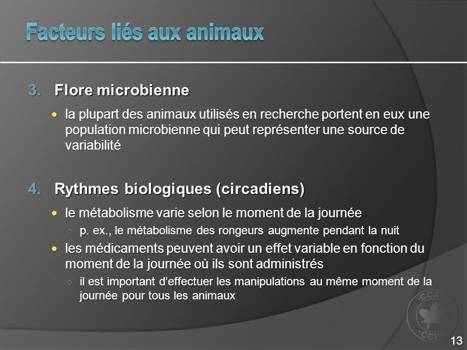 3.Flore microbienne la plupart des animaux utilisés en recherche portent en eux une population microbienne qui peut représenter une source de variabilité la plupart des animaux utilisés en recherche portent en eux une population microbienne qui peut représenter une source de variabilité 4.Rythmes biologiques (circadiens) le métabolisme varie selon le moment de la journée le métabolisme varie selon le moment de la journée p.