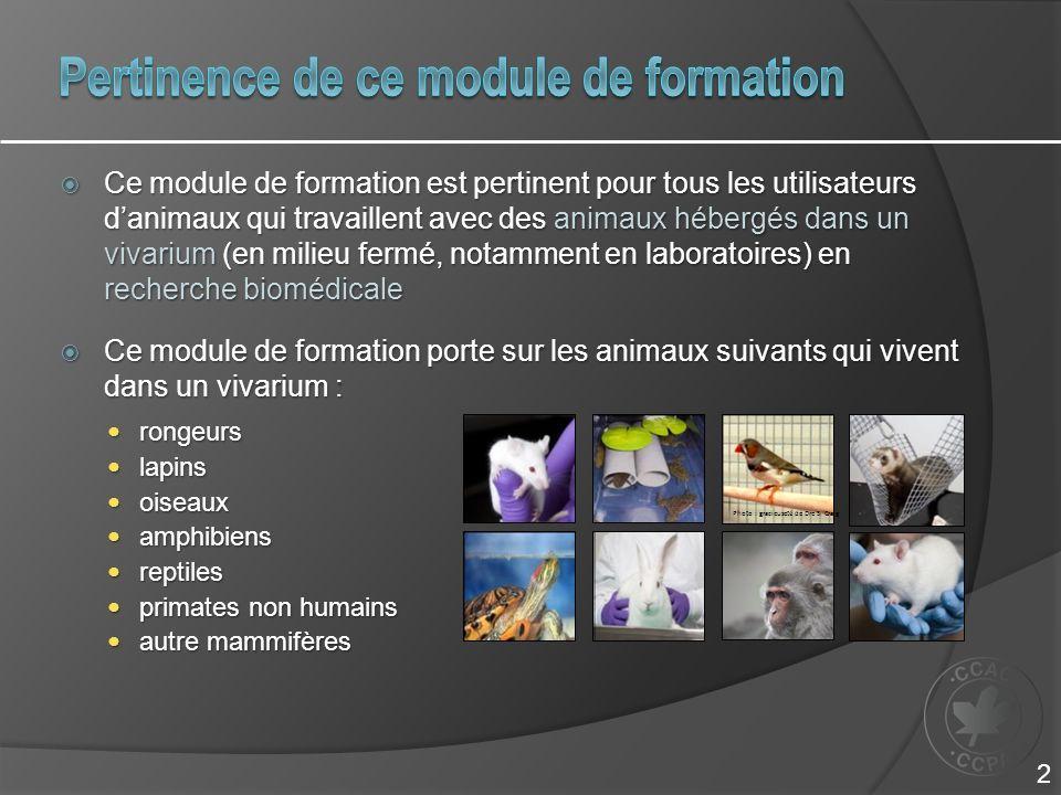 Comprendre les différents types de modèles animaux utilisés en recherche biomédicale et limportance de leur sélection Comprendre les différents types de modèles animaux utilisés en recherche biomédicale et limportance de leur sélection Reconnaître l importance de la prise en compte et de la maîtrise de toutes les variables prévues dans la méthodologie Reconnaître l importance de la prise en compte et de la maîtrise de toutes les variables prévues dans la méthodologie Élaborer une liste de vérification des variables qui ont une influence sur le programme de recherche Élaborer une liste de vérification des variables qui ont une influence sur le programme de recherche Décrire et accepter les responsabilités liées au bon déroulement dune expérience Décrire et accepter les responsabilités liées au bon déroulement dune expérience 3