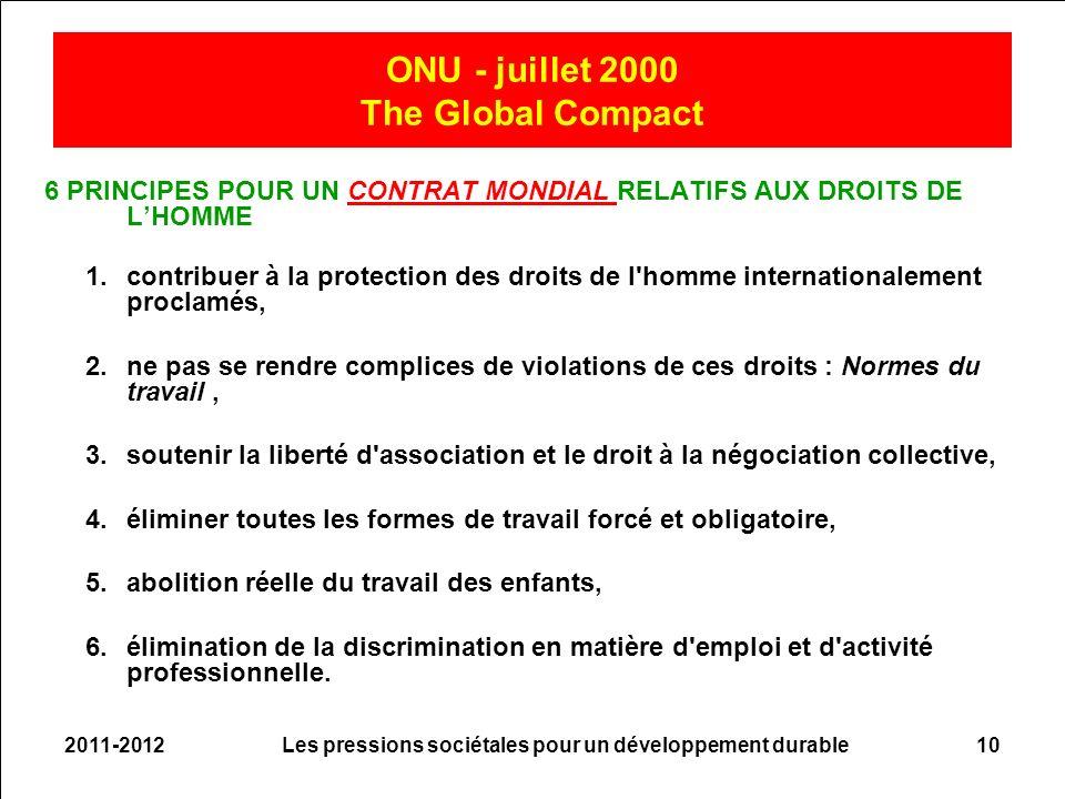 2011-2012Les pressions sociétales pour un développement durable10 ONU - juillet 2000 The Global Compact 6 PRINCIPES POUR UN CONTRAT MONDIAL RELATIFS A