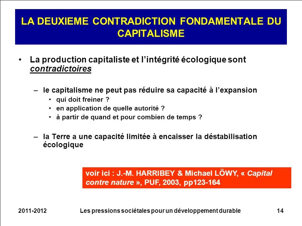 2011-2012Les pressions sociétales pour un développement durable14 LA DEUXIEME CONTRADICTION FONDAMENTALE DU CAPITALISME La production capitaliste et l