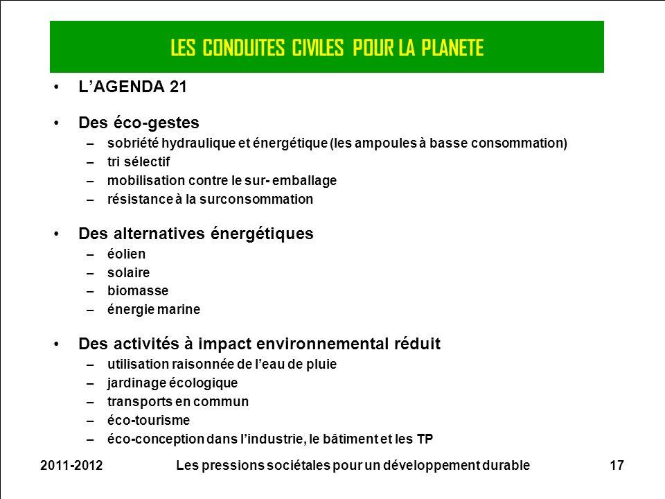 2011-2012Les pressions sociétales pour un développement durable17 LES CONDUITES CIVILES POUR LA PLANETE LAGENDA 21 Des éco-gestes –sobriété hydrauliqu