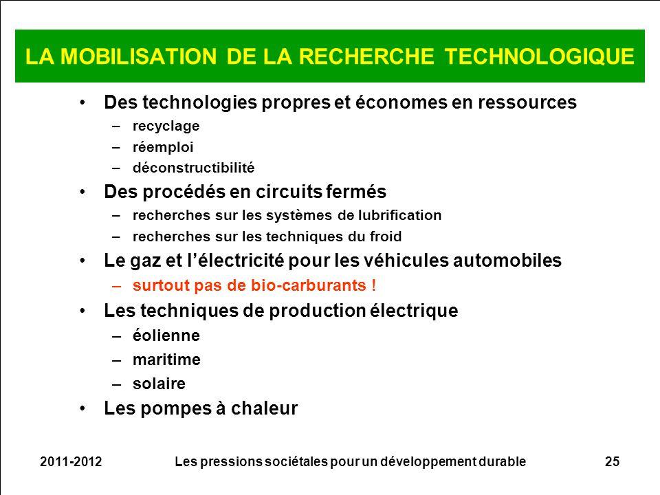 2011-2012Les pressions sociétales pour un développement durable25 LA MOBILISATION DE LA RECHERCHE TECHNOLOGIQUE Des technologies propres et économes e
