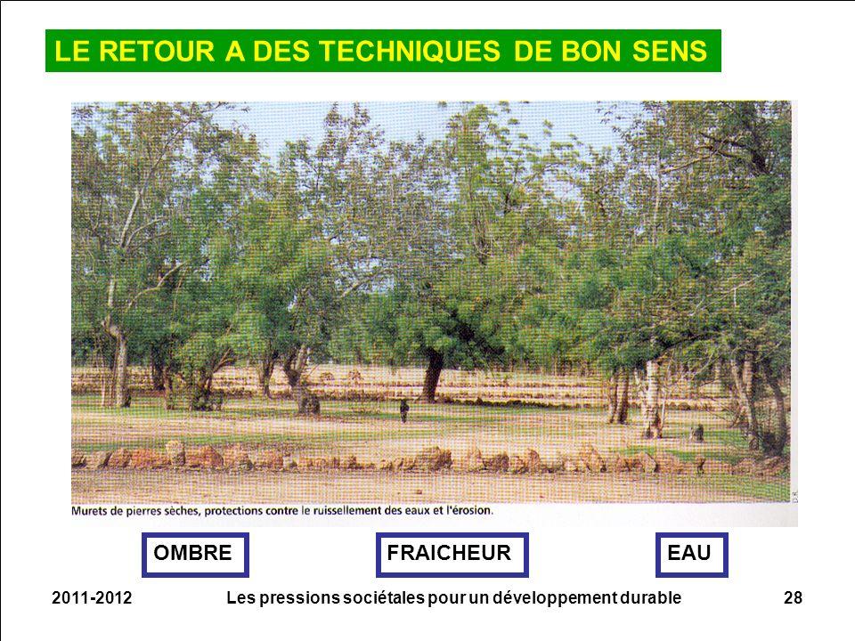 2011-2012Les pressions sociétales pour un développement durable28 LE RETOUR A DES TECHNIQUES DE BON SENS OMBREEAUFRAICHEUR