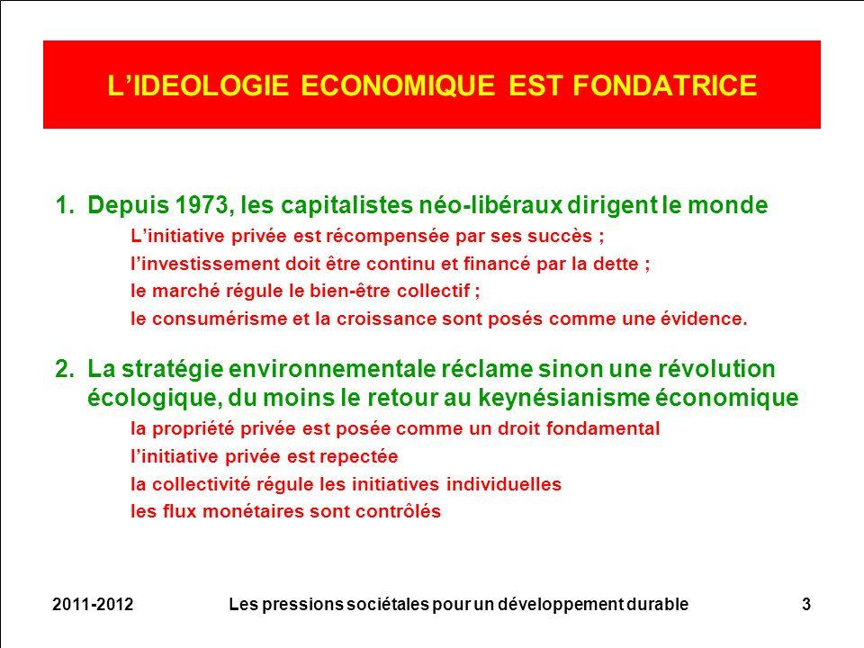 2011-2012Les pressions sociétales pour un développement durable3 LIDEOLOGIE ECONOMIQUE EST FONDATRICE 1.Depuis 1973, les capitalistes néo-libéraux dirigent le monde Linitiative privée est récompensée par ses succès ; linvestissement doit être continu et financé par la dette ; le marché régule le bien-être collectif ; le consumérisme et la croissance sont posés comme une évidence.