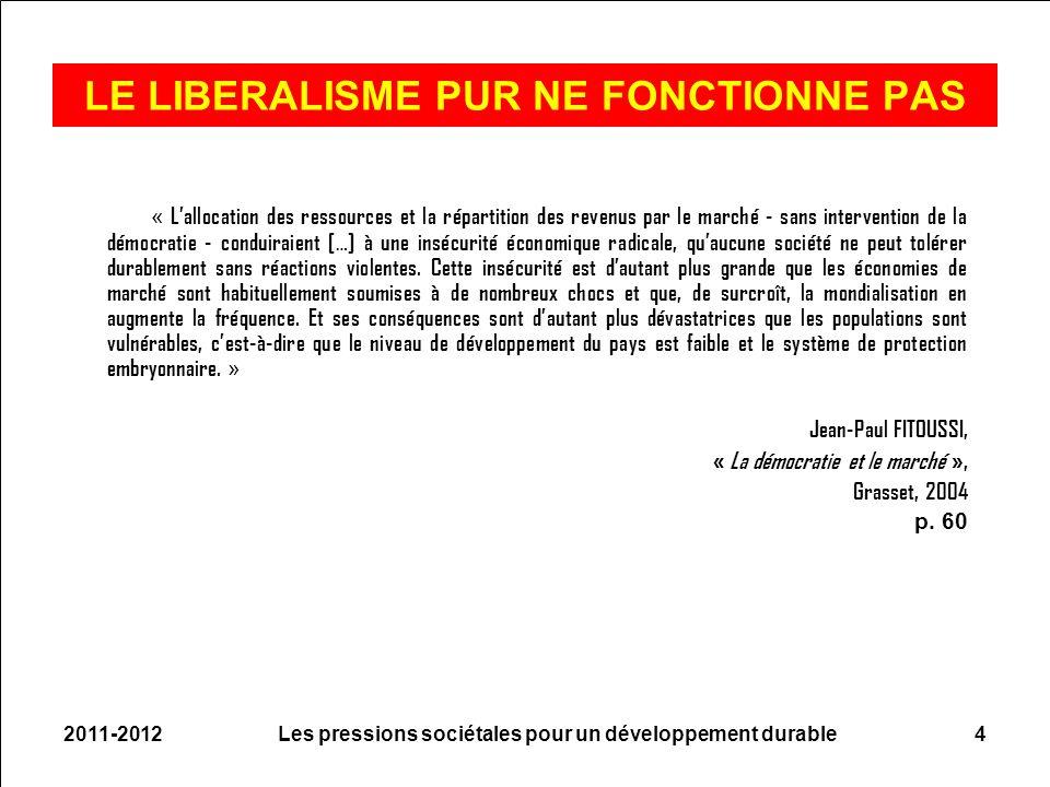 2011-2012Les pressions sociétales pour un développement durable4 LE LIBERALISME PUR NE FONCTIONNE PAS « Lallocation des ressources et la répartition d