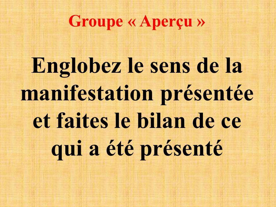 Groupe « Aperçu » Englobez le sens de la manifestation présentée et faites le bilan de ce qui a été présenté