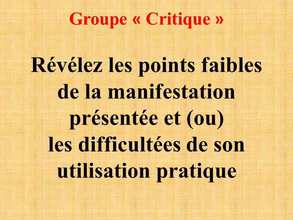Groupe « Critique » Révélez les points faibles de la manifestation présentée et (ou) les difficultées de son utilisation pratique