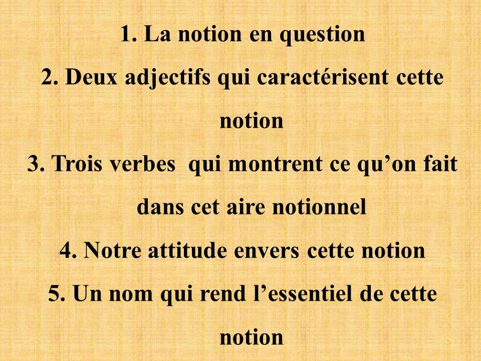 1. La notion en question 2. Deux adjectifs qui caractérisent cette notion 3. Trois verbes qui montrent ce quon fait dans cet aire notionnel 4. Notre a