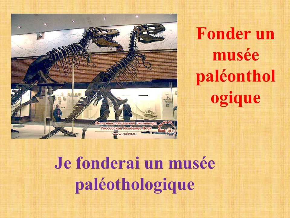 Fonder un musée paléonthol ogique Je fonderai un musée paléothologique