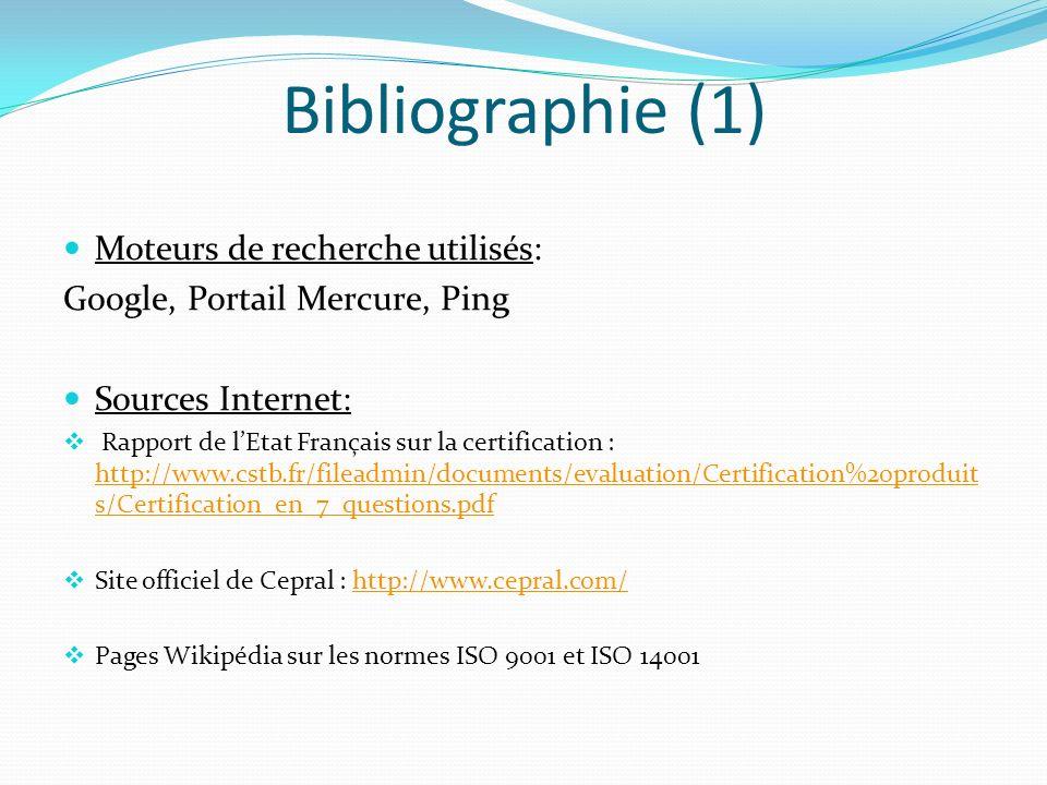 Bibliographie (1) Moteurs de recherche utilisés: Google, Portail Mercure, Ping Sources Internet: Rapport de lEtat Français sur la certification : http