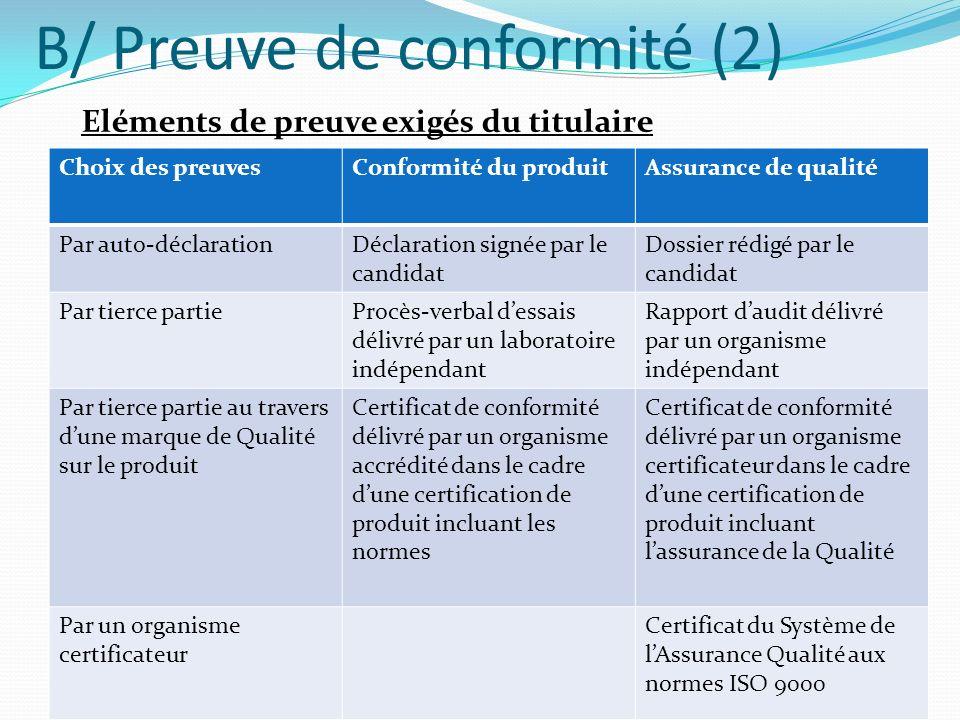B/ Preuve de conformité (3) Types doptions possibles pour les exigences de preuves de conformité : Aucune exigence de preuve de conformité La déclaration du fournisseur (auto certification) Garantie Un ou plusieurs certificats dessai ou danalyse Contrôle final Certificat de produit