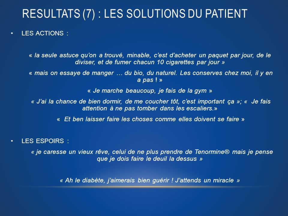 RESULTATS (7) : LES SOLUTIONS DU PATIENT LES ACTIONS : « la seule astuce quon a trouvé, minable, cest dacheter un paquet par jour, de le diviser, et d