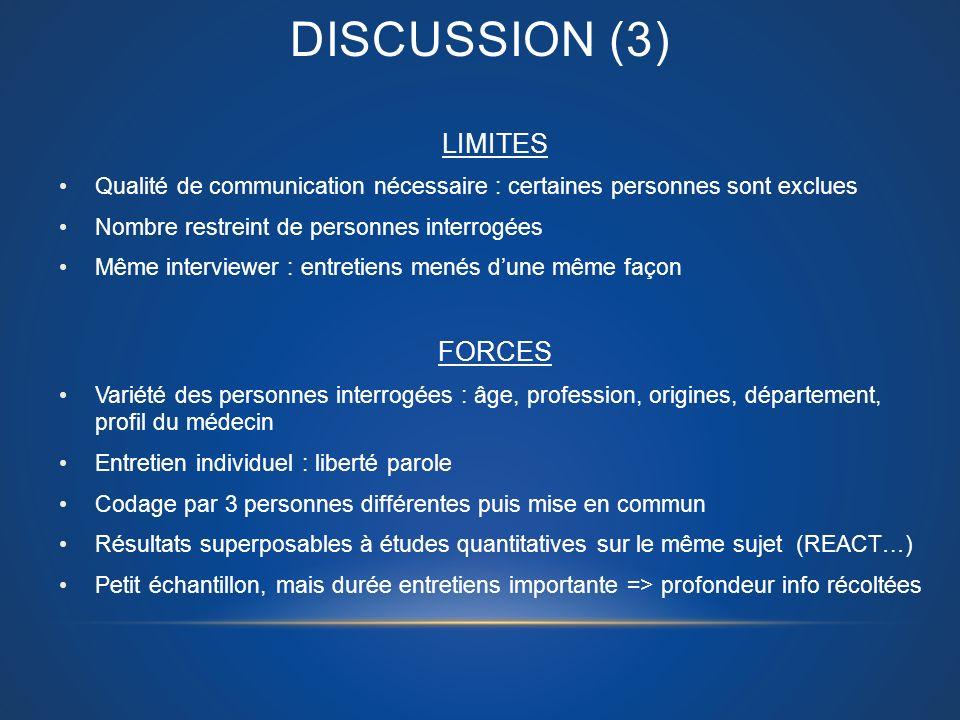 DISCUSSION (3) LIMITES Qualité de communication nécessaire : certaines personnes sont exclues Nombre restreint de personnes interrogées Même interview