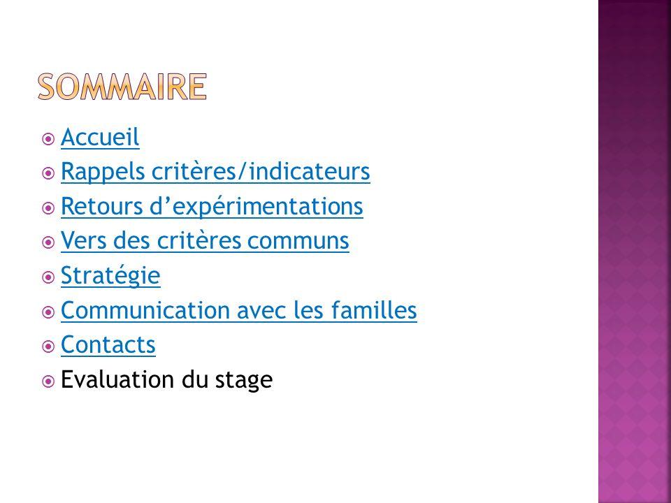 Accueil Rappels critères/indicateurs Retours dexpérimentations Vers des critères communs Stratégie Communication avec les familles Contacts Evaluation