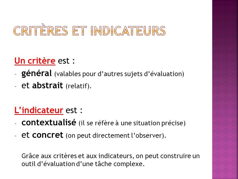 Un critère est : - général (valables pour dautres sujets dévaluation) - et abstrait (relatif). Lindicateur est : - contextualisé (il se réfère à une s