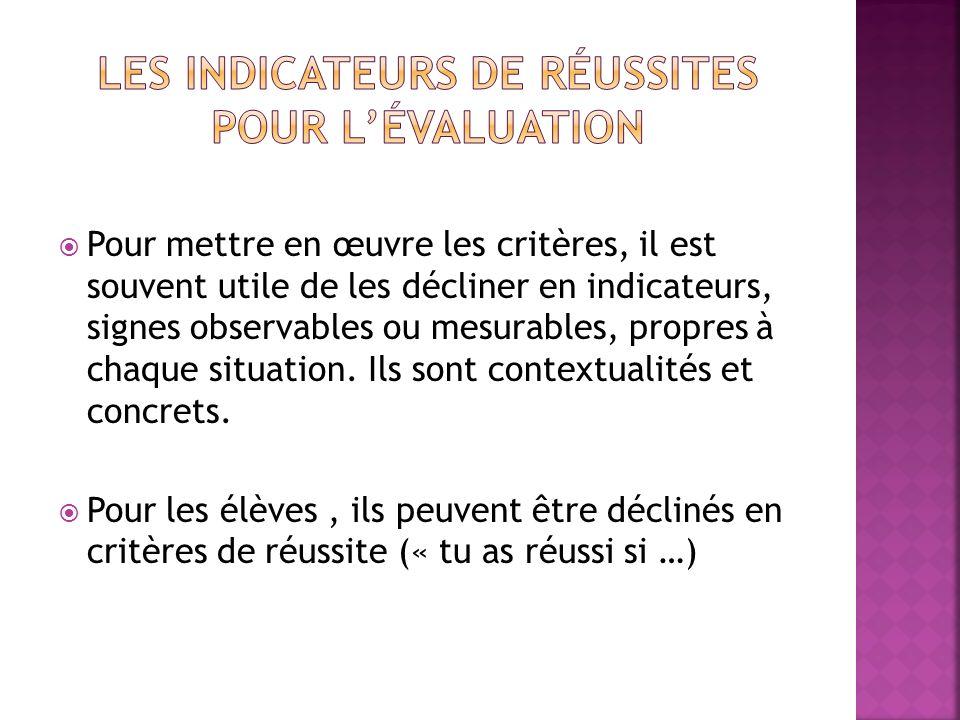Pour mettre en œuvre les critères, il est souvent utile de les décliner en indicateurs, signes observables ou mesurables, propres à chaque situation.